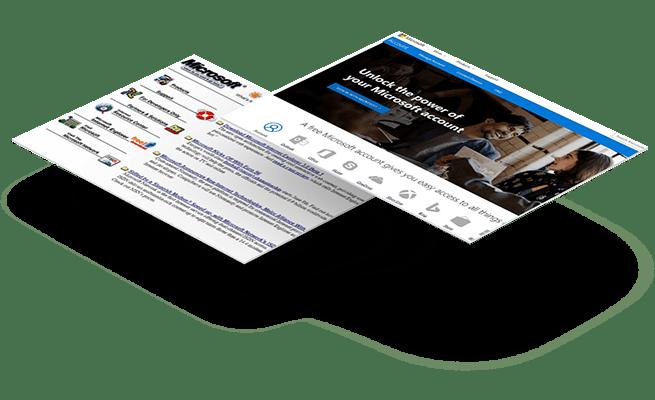 Website Design - 20 year challenge - Microsoft